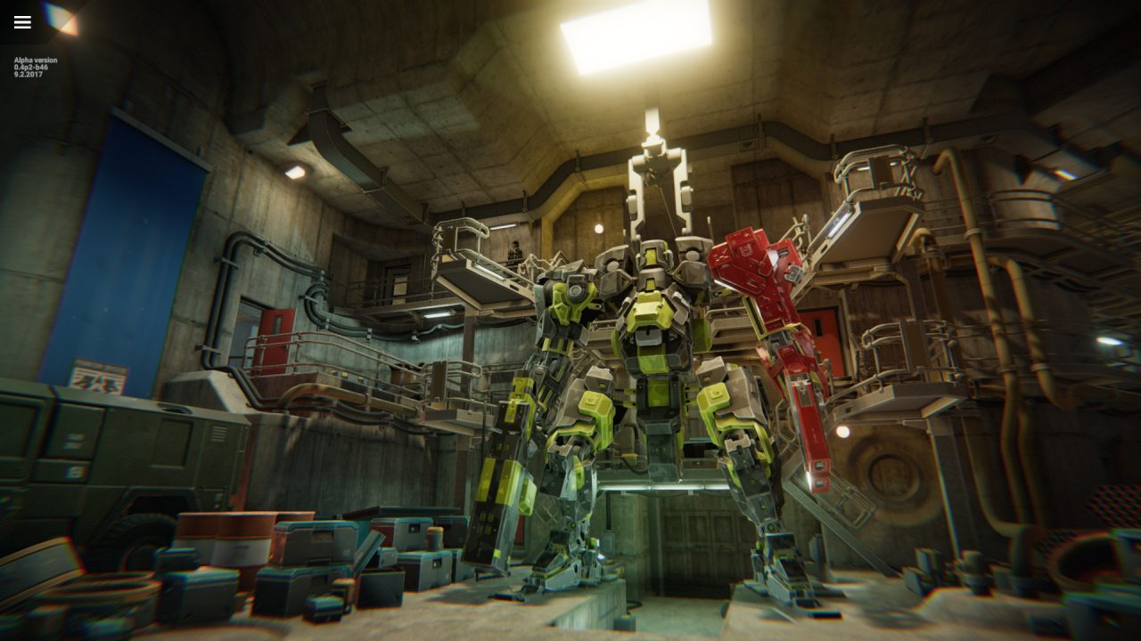 An impressively-constructed green mech is in an industrious hangar, ready to deploy, in Phantom Brigade.