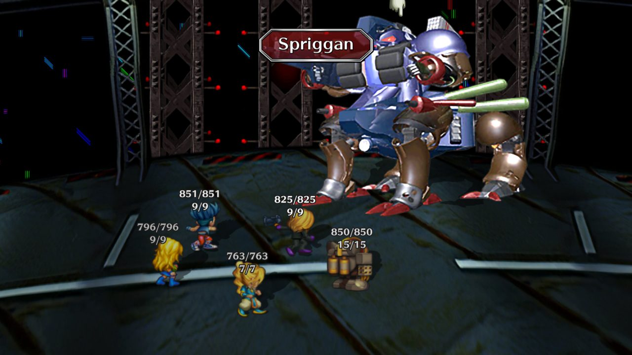 A battle within SaGa Frontier Remastered where the protagonists fight against a large four-legged robot.