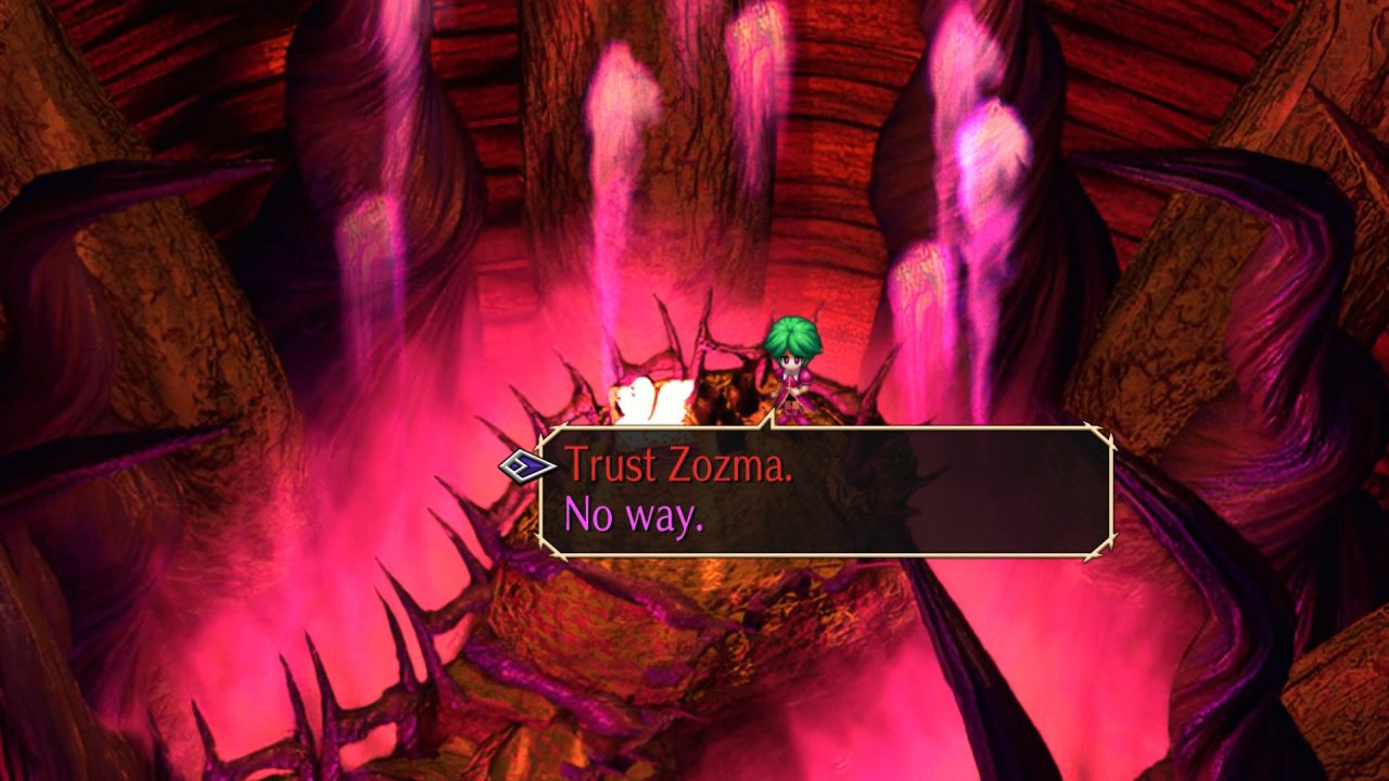 The screenshot depicts a decision to either trust of refuse the words and actions of a character within SaGa Frontier Remastered.