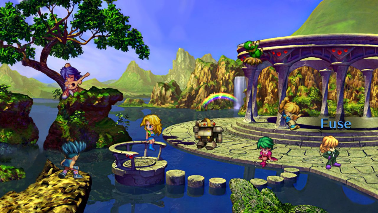 The SaGa Frontier cast hangs out by a river at a lovely gazebo as the player selects their character!