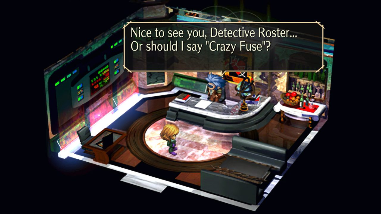 A worker wonders if she should refer to Detective Roster as 'Crazy Fuse' in SaGa Frontier Remastered.