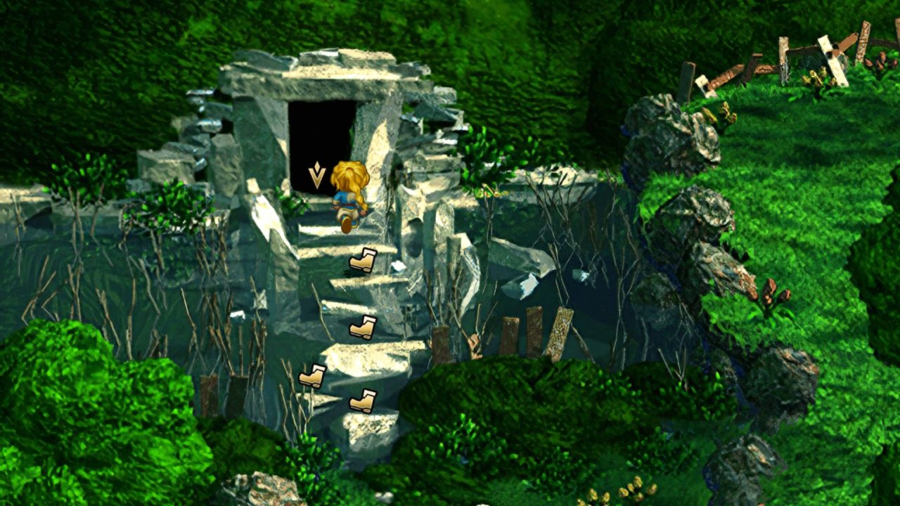 SaGa Frontier Remastered screenshot featuring a character hopping up stone steps into a cave with convenient boot icons showing the path.