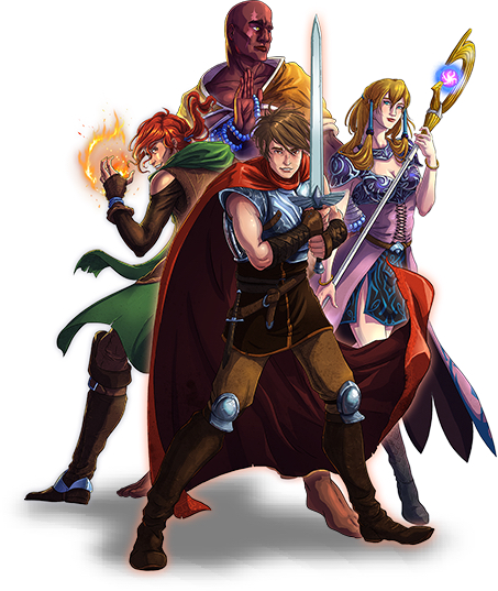 Clockwise from top: Curtis the monk, Asrael the mage, Kellan the knight, and Talon the Thief