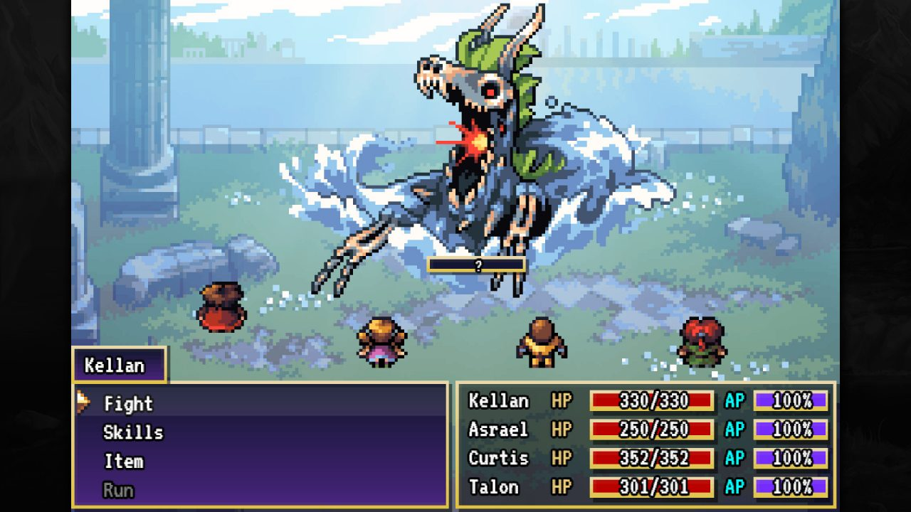 Asrael and crew face off against a skeletal dragon
