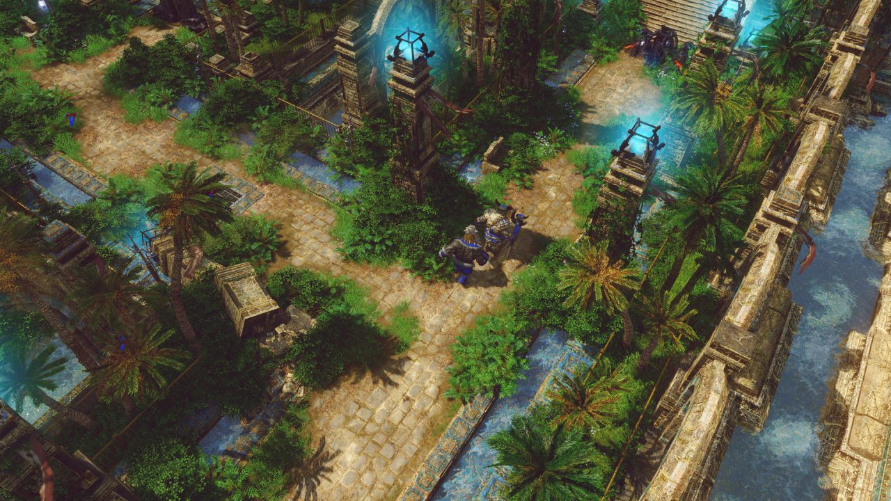 SpellForce 3: Fallen God screenshot of characters traversing a tropical jungle-themed temple full of palm trees and flowing water.