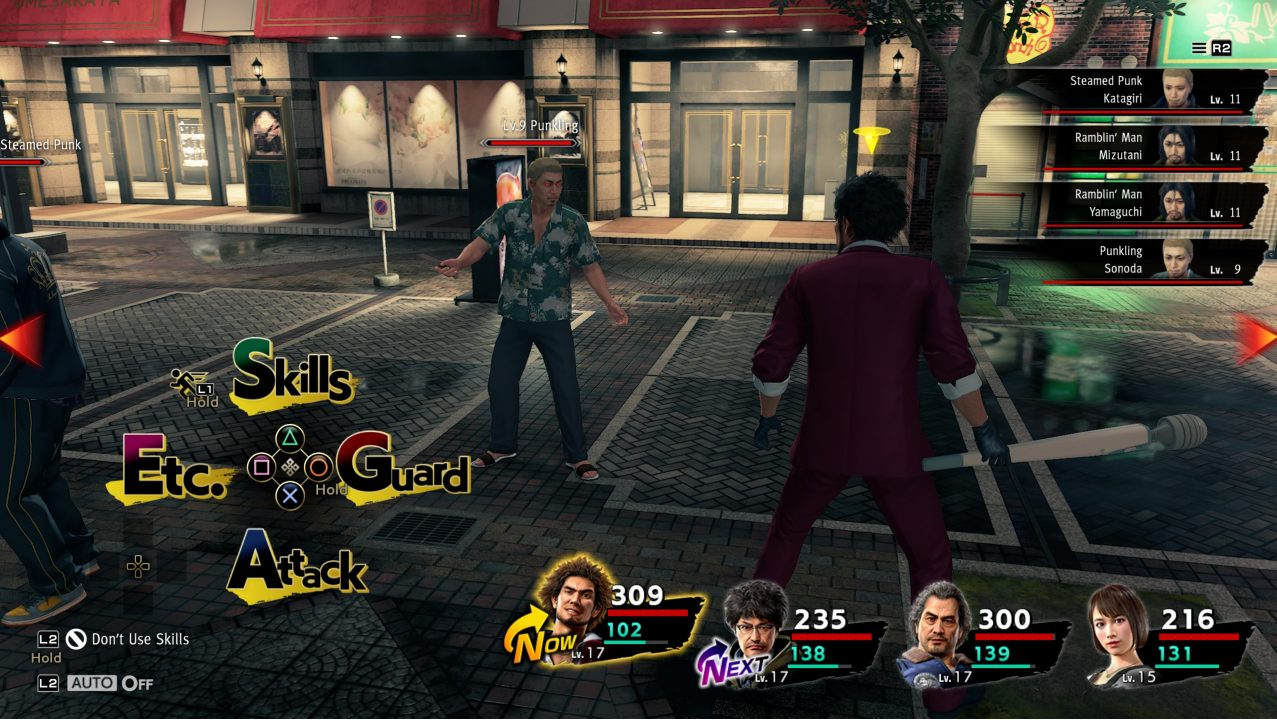 Battle scene in Yakuza: Like a Dragon showing Ichiban's party facing off against some punks.