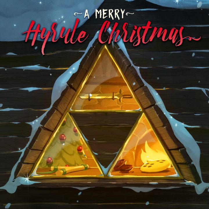 A Merry Hyrule Christmas album cover with a Triforce-shaped window in a cabin looking in on a Christmas tree, sword, fire, and ocarina.