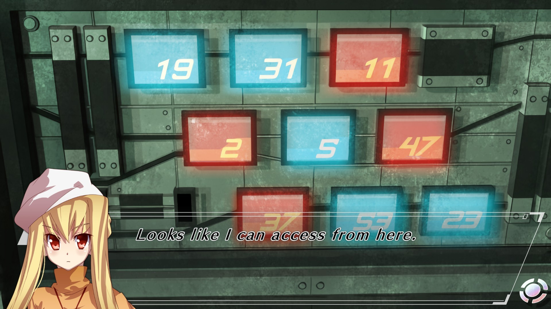 A numerical puzzle presents itself to the player while a protagonist muses over it in Abyss of the Sacrifice.
