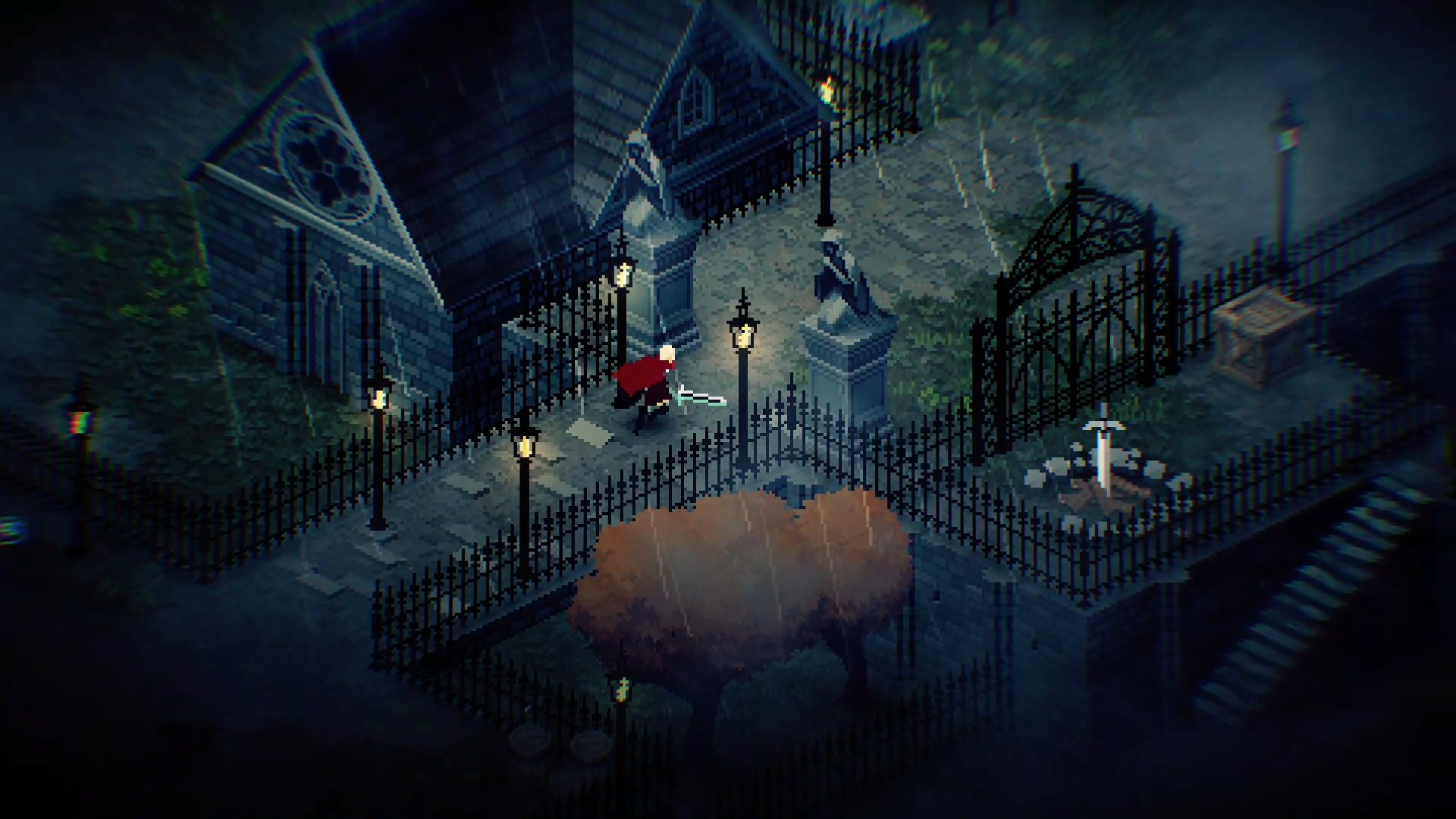 Chrono Sword Screenshot of a heroine running through a pixelated gothic landscape