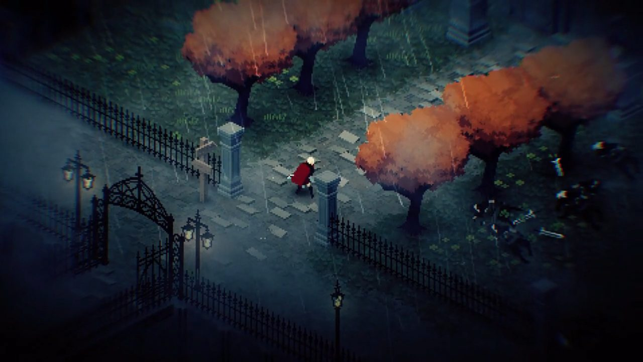 Chrono Sword screenshot of heroine heading into a tree-lined path on a rainy day.