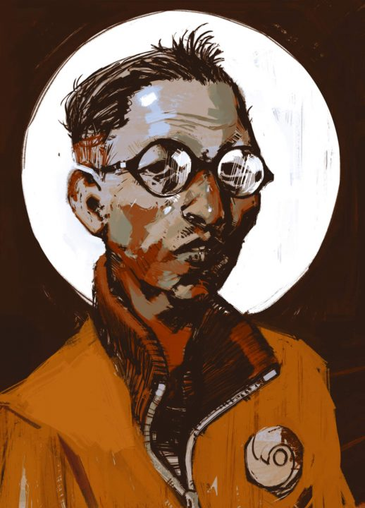 Disco Elysium artwork of a nondescript male character in an orange jumpsuit and round spectacles.