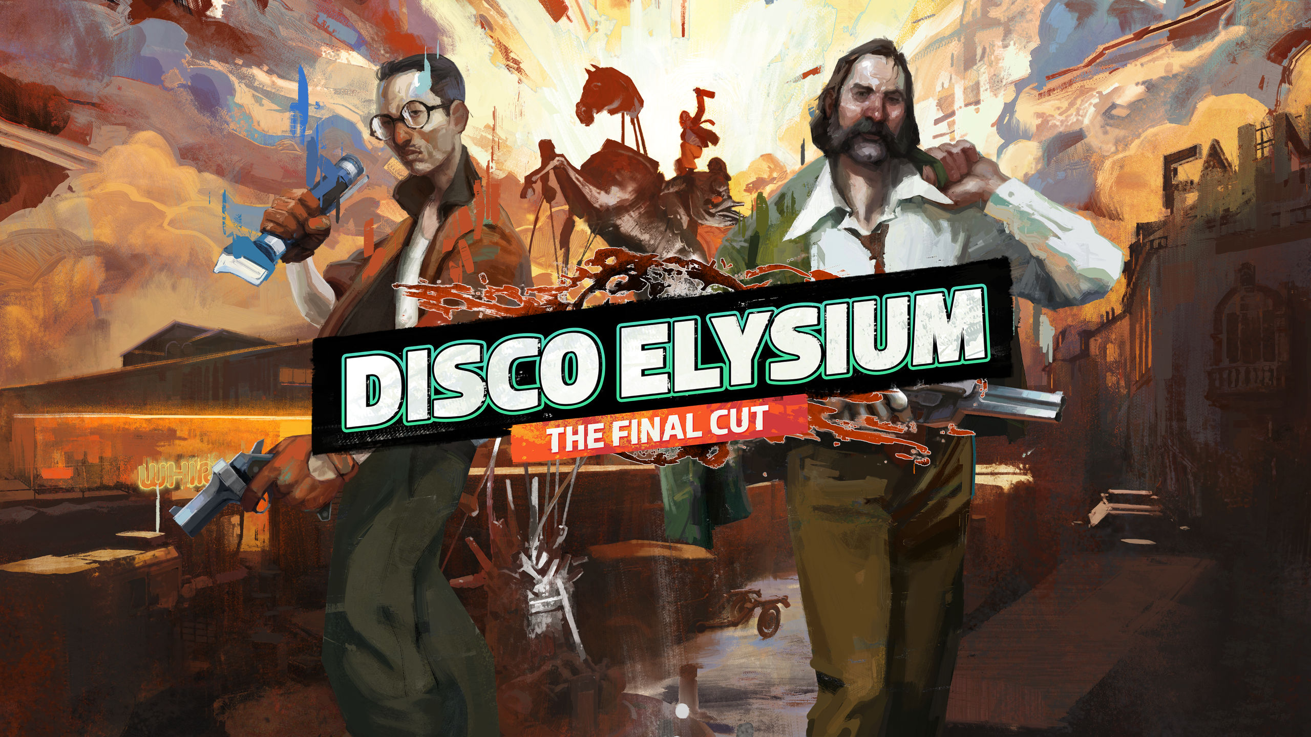 A screenshot of the Disco Elysium: The Final cut logo set before two men. One is wearing an orange jacket and black glasses and the other is wearing a white shirt and sporting a thick brown beard.