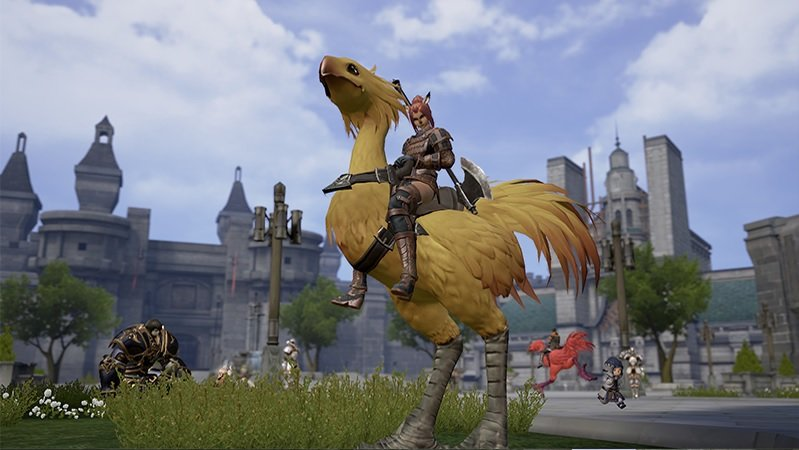 Final Fantasy XI screenshot of a chocobo with a rider outside a medieval city