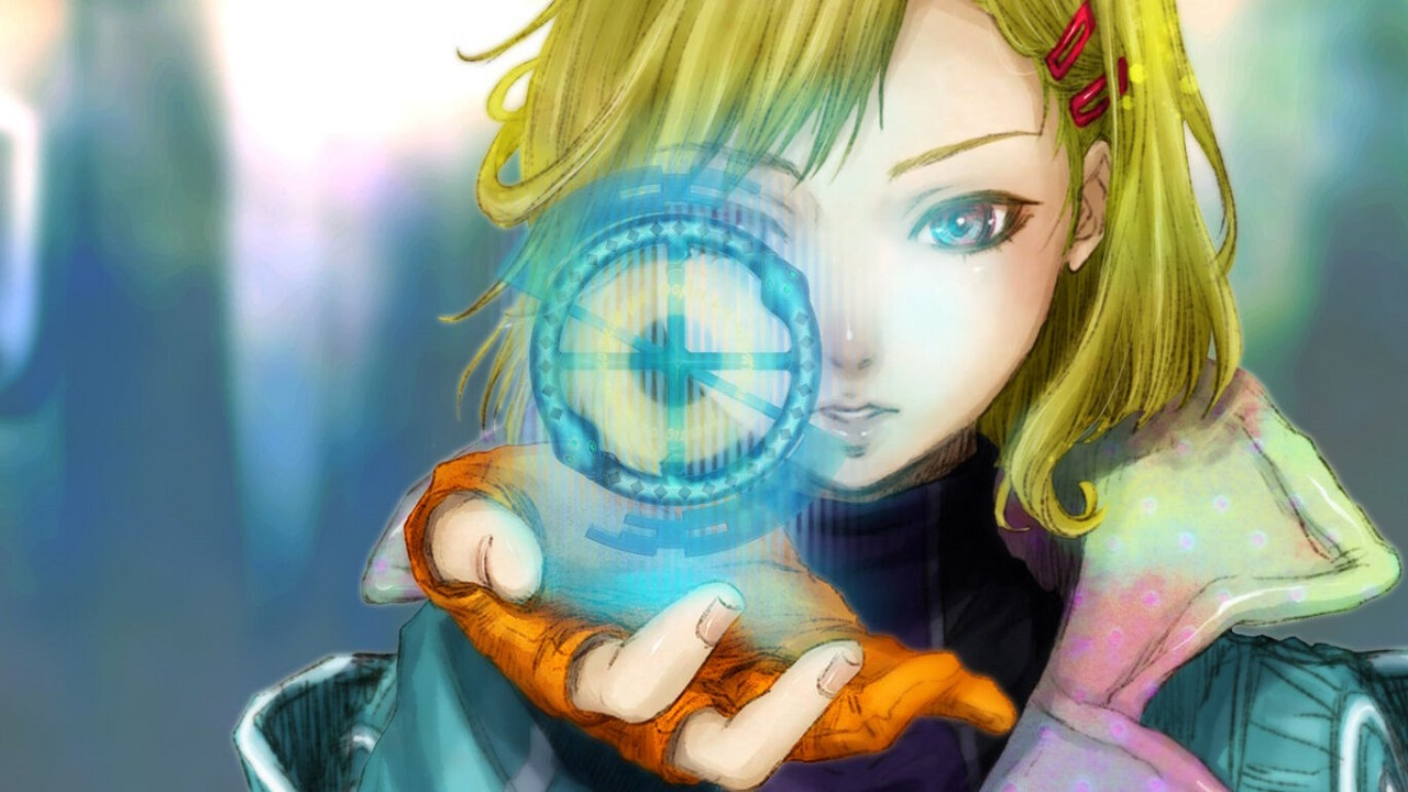 Gnosia Screenshot of a blonde girl holding up a glowing hologram in her hand