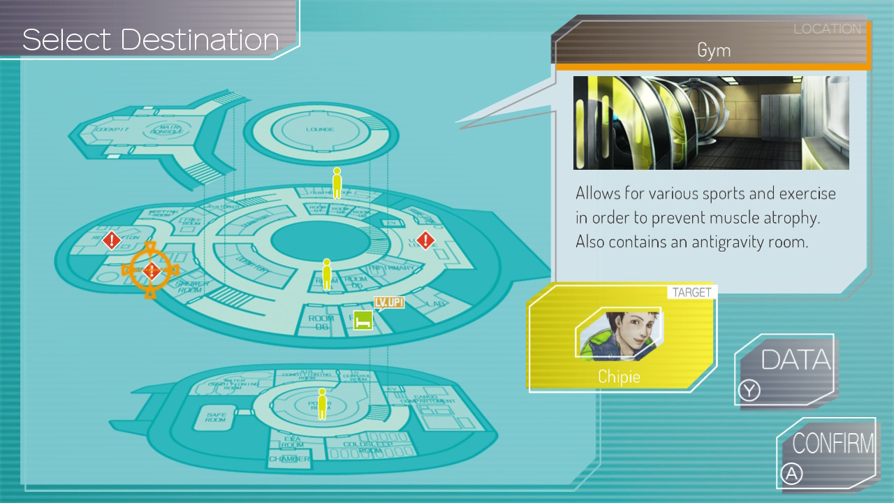 A blueprint-styled map shows the layout of a spaceship.