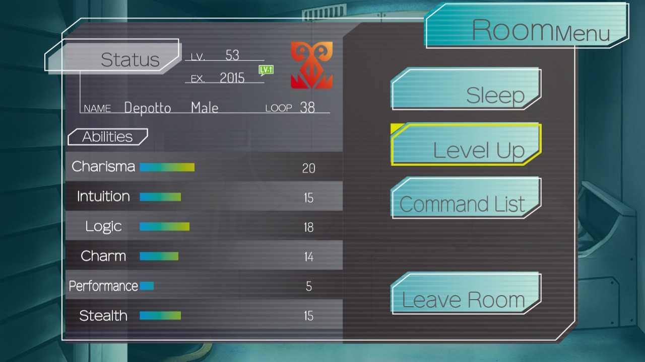 A display of player stats with the option to level up selected.