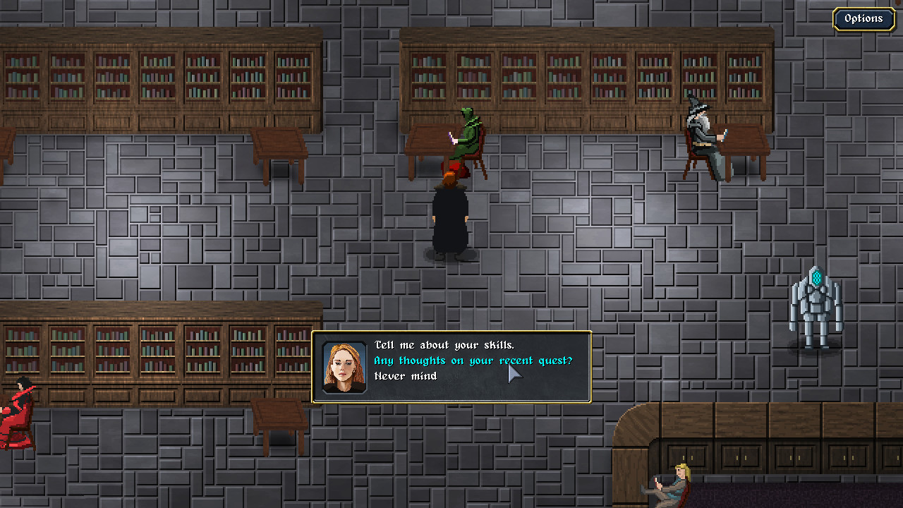A narrative choice presented to the player by way of text box in Guildmaster: Gratuitous Subtitle.
