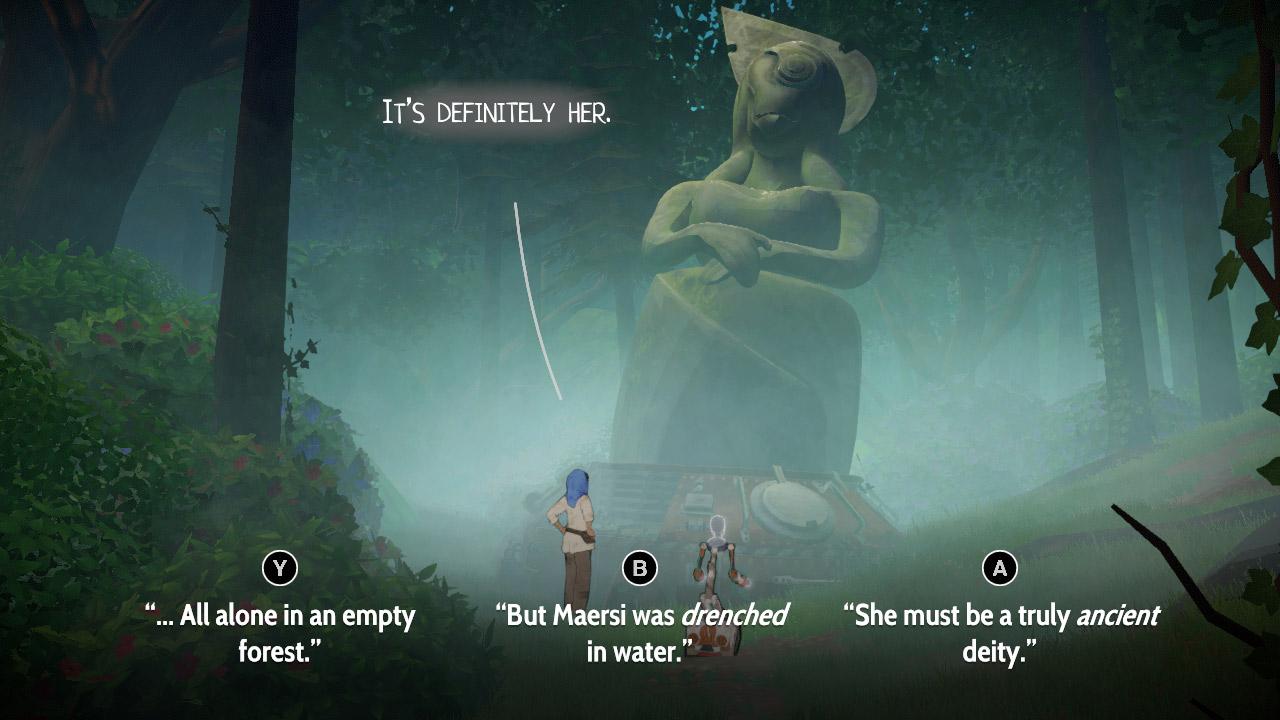 A screenshot of Heaven's Vault with Layla and her robot sidekick!