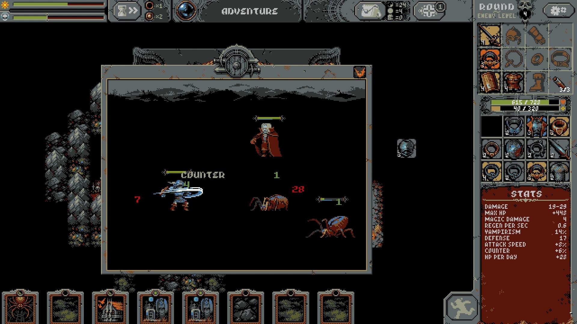 A screenshot of frenetic battle in Loop Hero.
