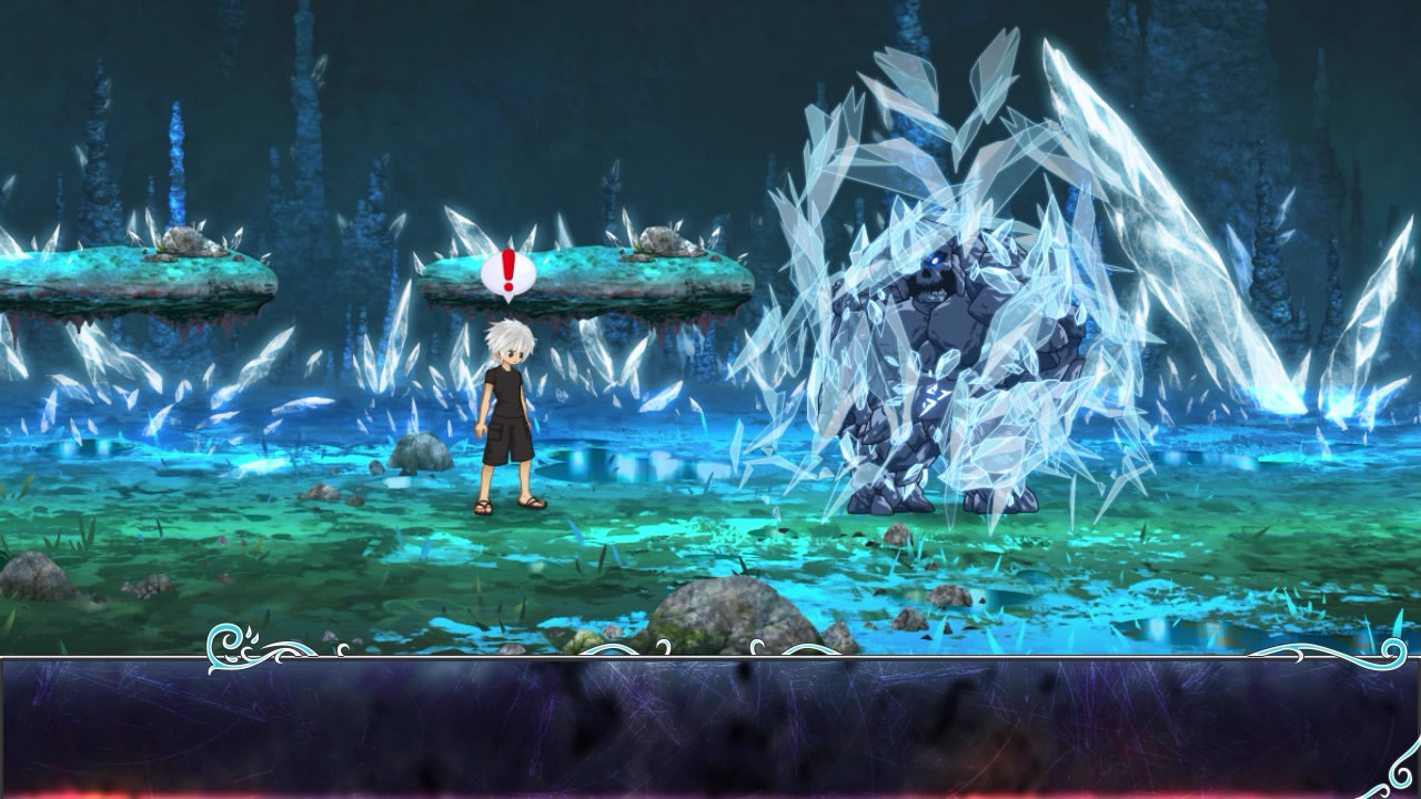 Luminous Plume screenshot featuring a  silver-haired youth stands in a field of blue-green crystals
