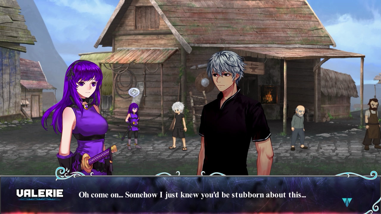A conversation in town between a purple lady and the silver-haired youth.