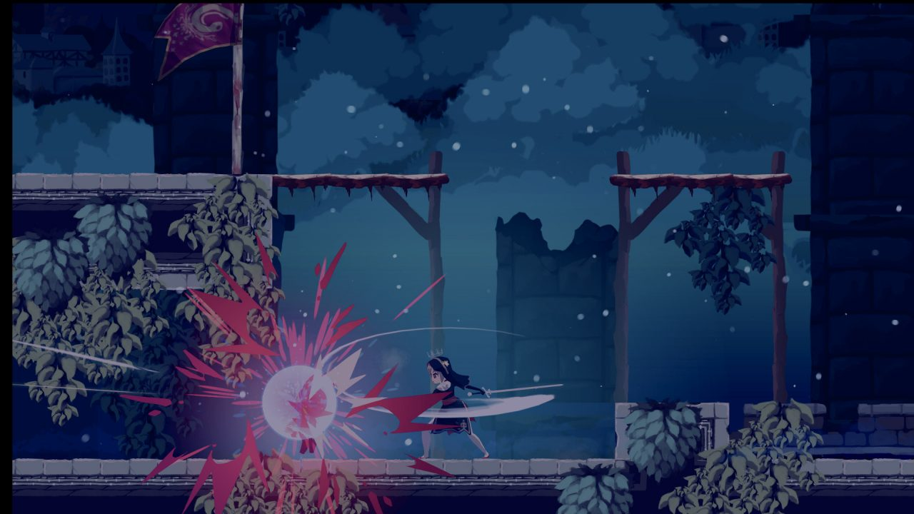 Sister Semilla slicing her weapon horizontally cutting down a foe.
