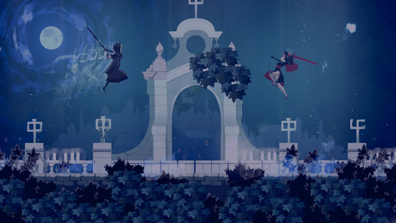 Sister Semilla leaping through the air next to an archway, weapon drawn, clashing with a witch.