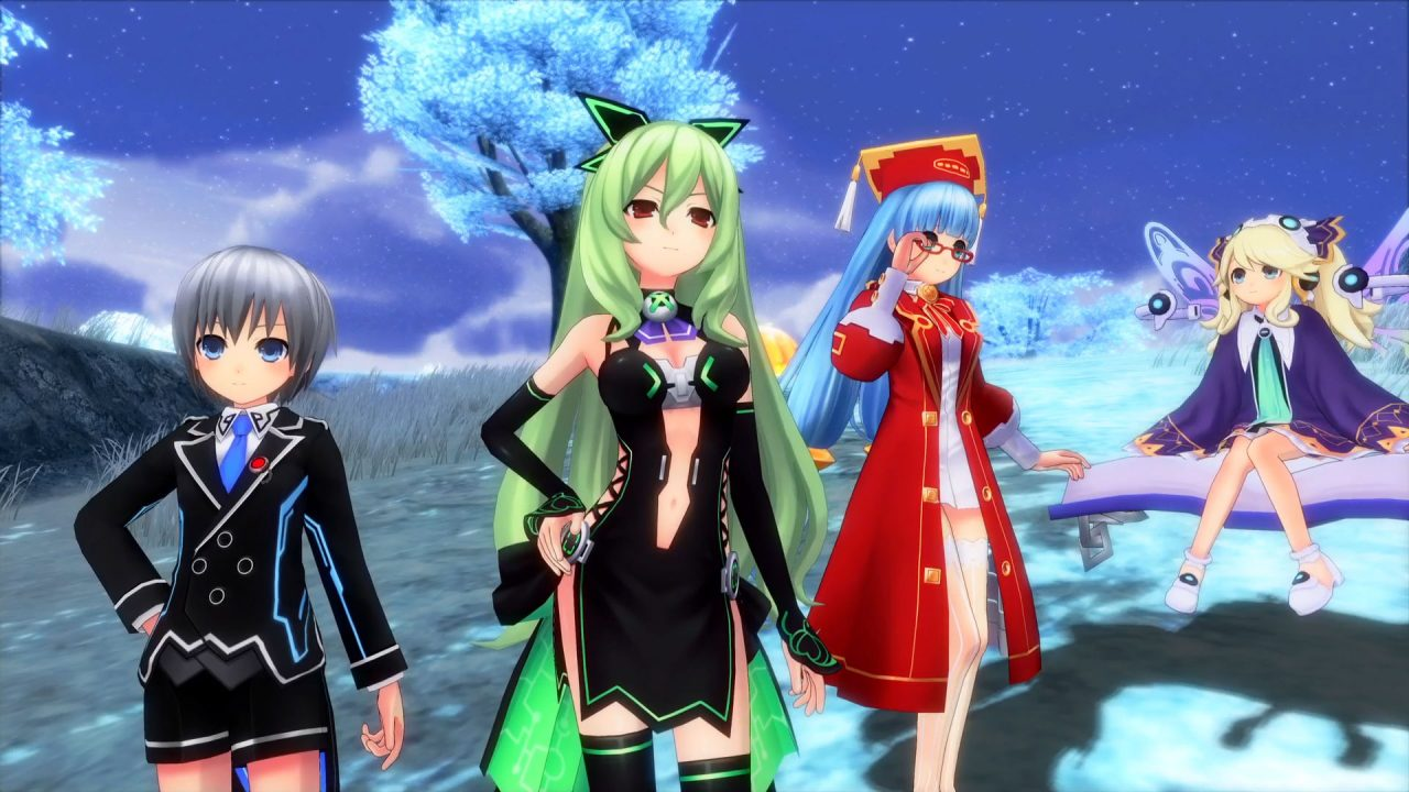 Neptunia reverse Characters in front of a tree