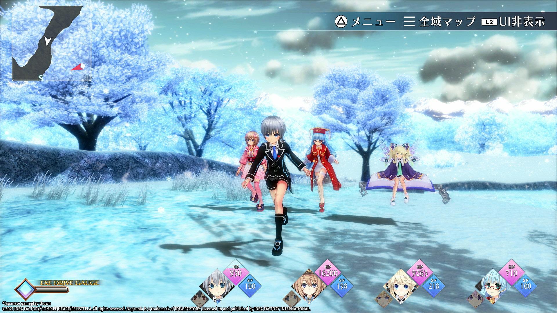 Neptunia Reverse characters running through a field
