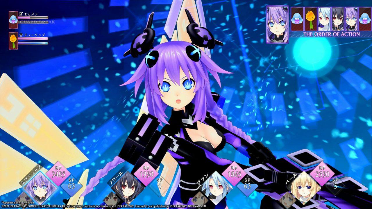 A Neptunia ReVerse battle screen featuring Neptune in her CPU Goddess mode.