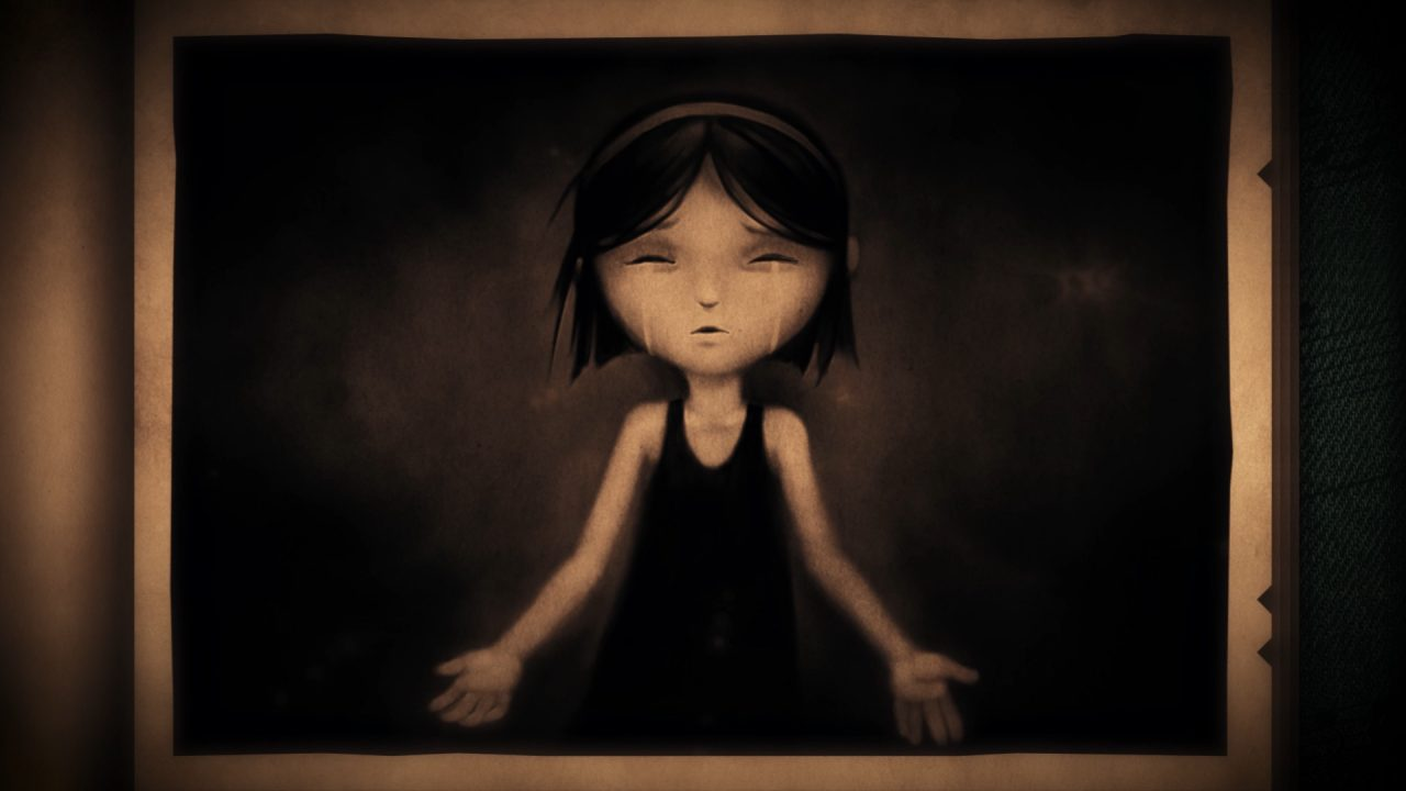 Neversong screenshot: a sepia-toned picture of a crying girl