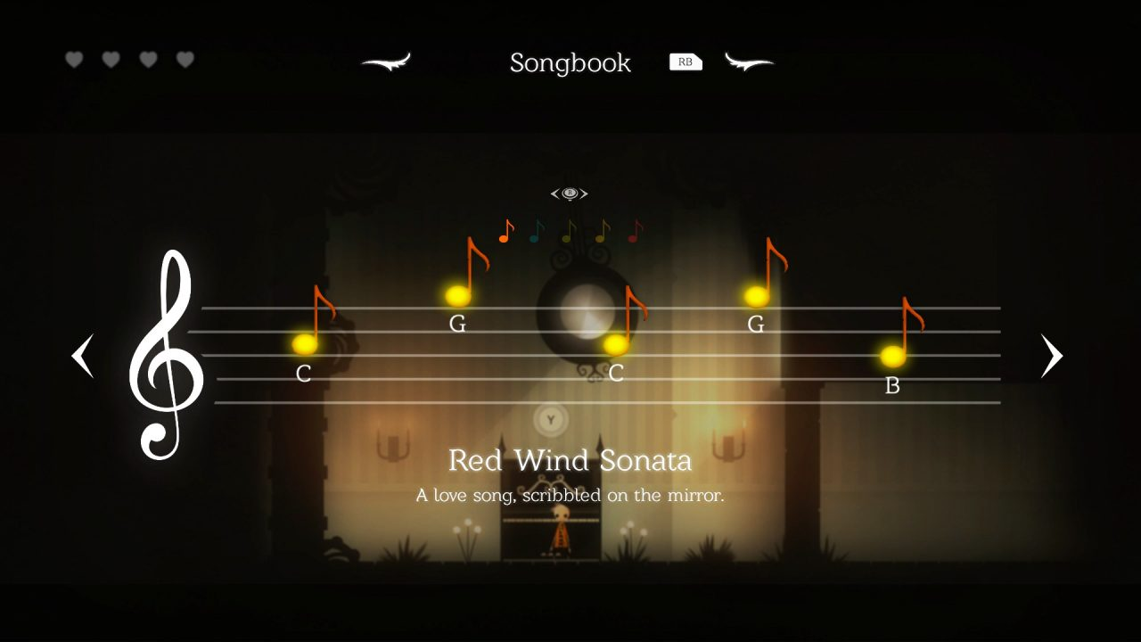 """Neversong screenshot: a series of notes paints the screen from the song """"Red Wind Sonata"""""""