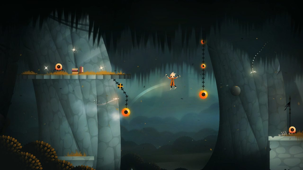 Neversong screenshot: Peet flings himself cable to cable in a platforming sequence