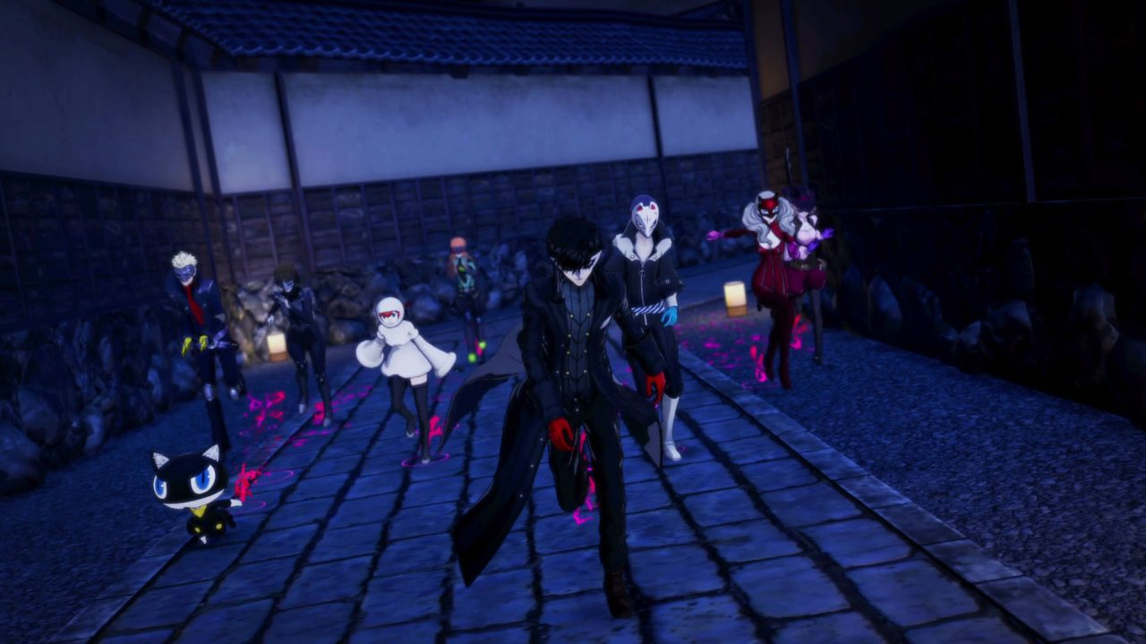 Joker and the rest of the Phantom Thieves running through a dark alleyway in Persona 5 Strikers.
