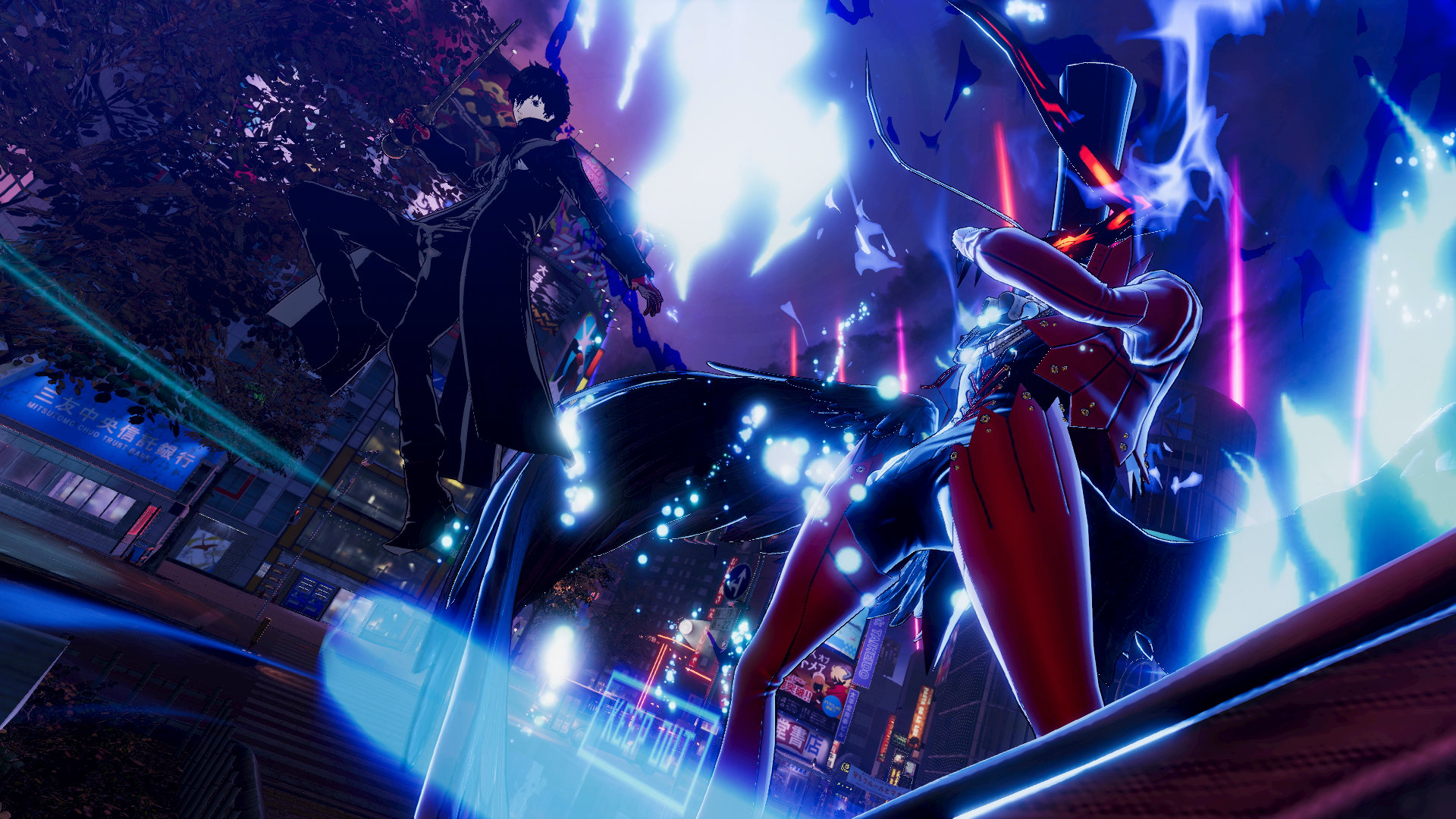 Persona 5 Strikers Screenshot of Joker leaping into action as his Persona stands ready behind him against a darkened city backdrop.