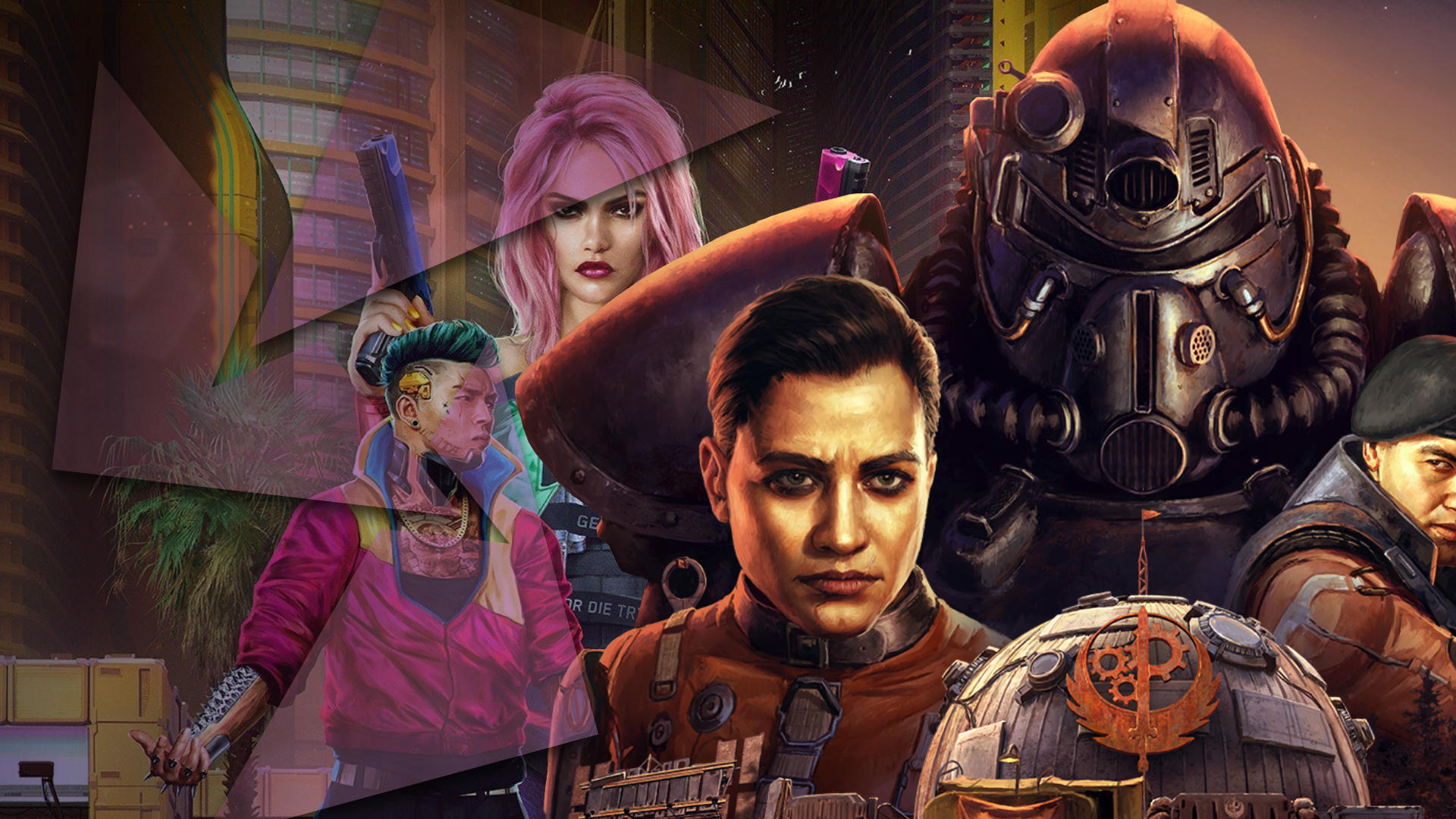 The banner shows game art of a female with pink hair and a young man with a green pompadour and pink jacket from Cyberpunk 2077, and character art from Fallout 76 featuring a mecha suit and a young, dark-featured man looking intense.
