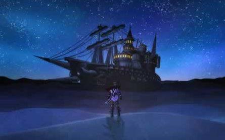 Rogue Galaxy screenshot: The Dorgenark anchored in the desert of Rosa