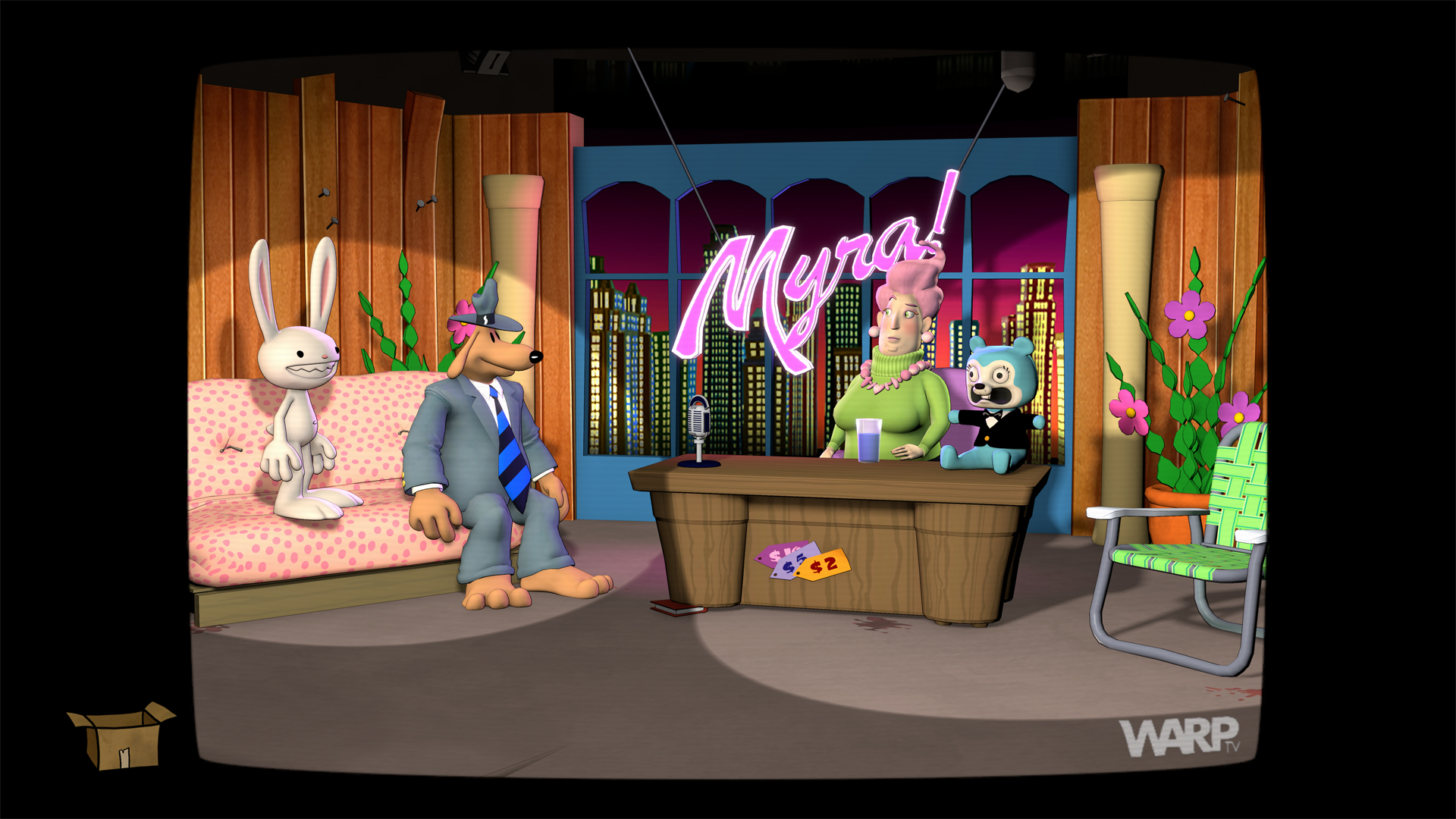 Sam and Max are being interviewed by a talk show host in Sam & Max Save The World - Remastered