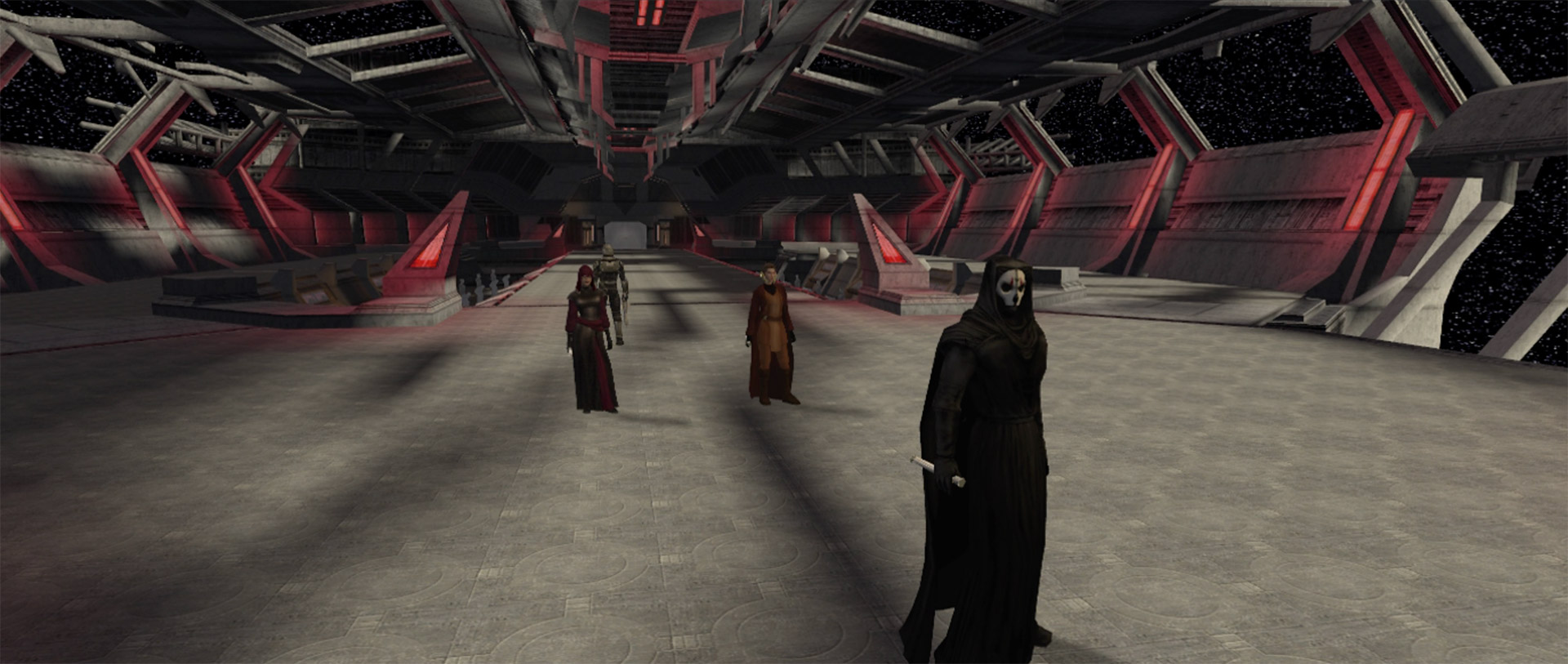 Robed figures stand on a dimly-lit spaceship command deck in Star Wars Knights of the Old Republic II: The Sith Lords.