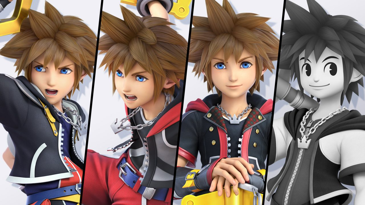 Sora being shown in costume variations.