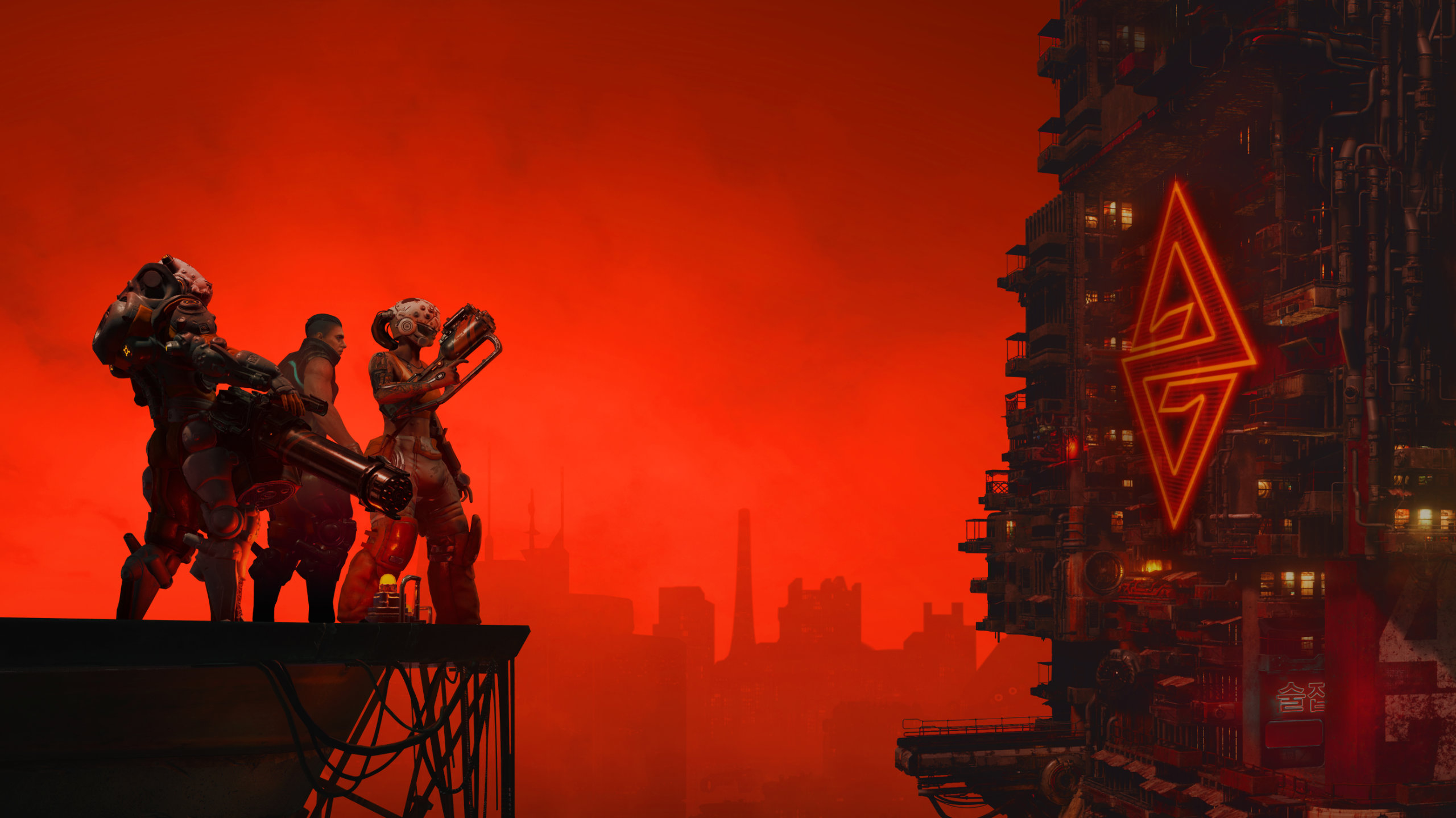 The cast of The Ascent stand on top of a skyscraper looking over an entire city against a red sky.