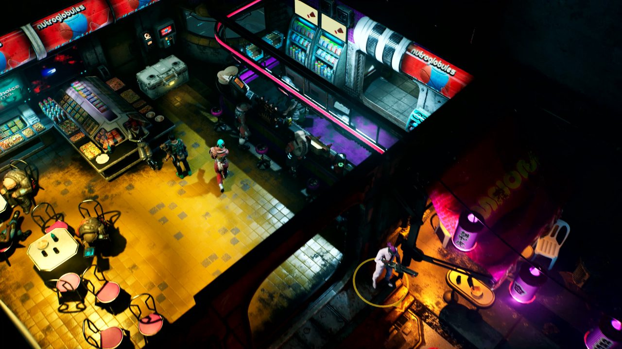 A neon restaurant in The Ascent, complete with buffet!