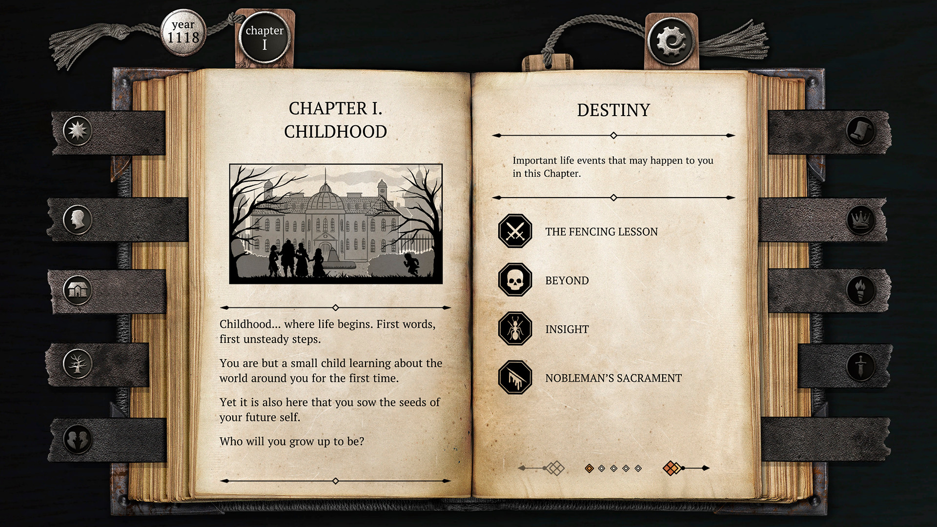 Gameplay is charted via pages in a book in The Life and Suffering of Sir Brante.