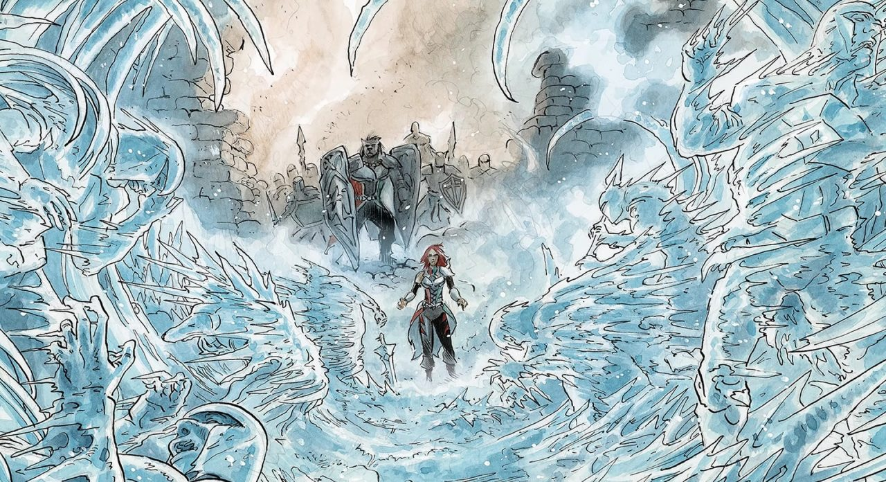 Vesper: Ether Saga Comic-style artwork: Monsters and soldiers stand frozen in ice before our heroine.