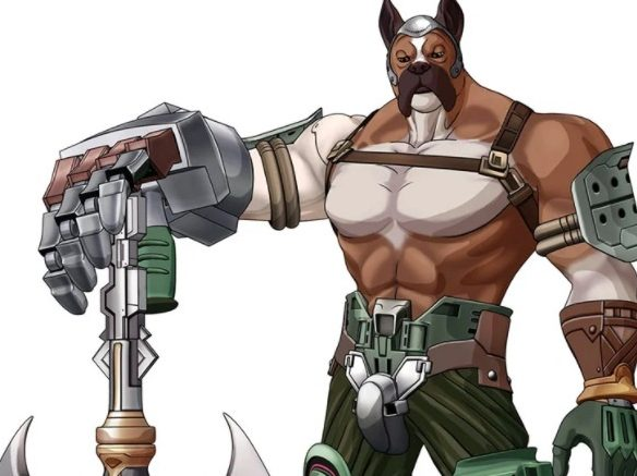 Rogue Galaxy character art: Deego poses with his battle axe