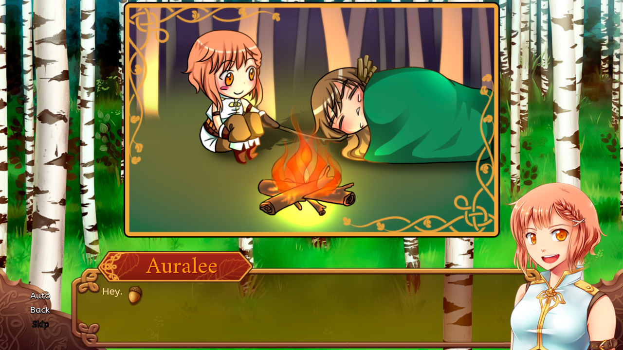 A camping scene in chibi form where our protagonist pokes her sleeping companion with a stick.