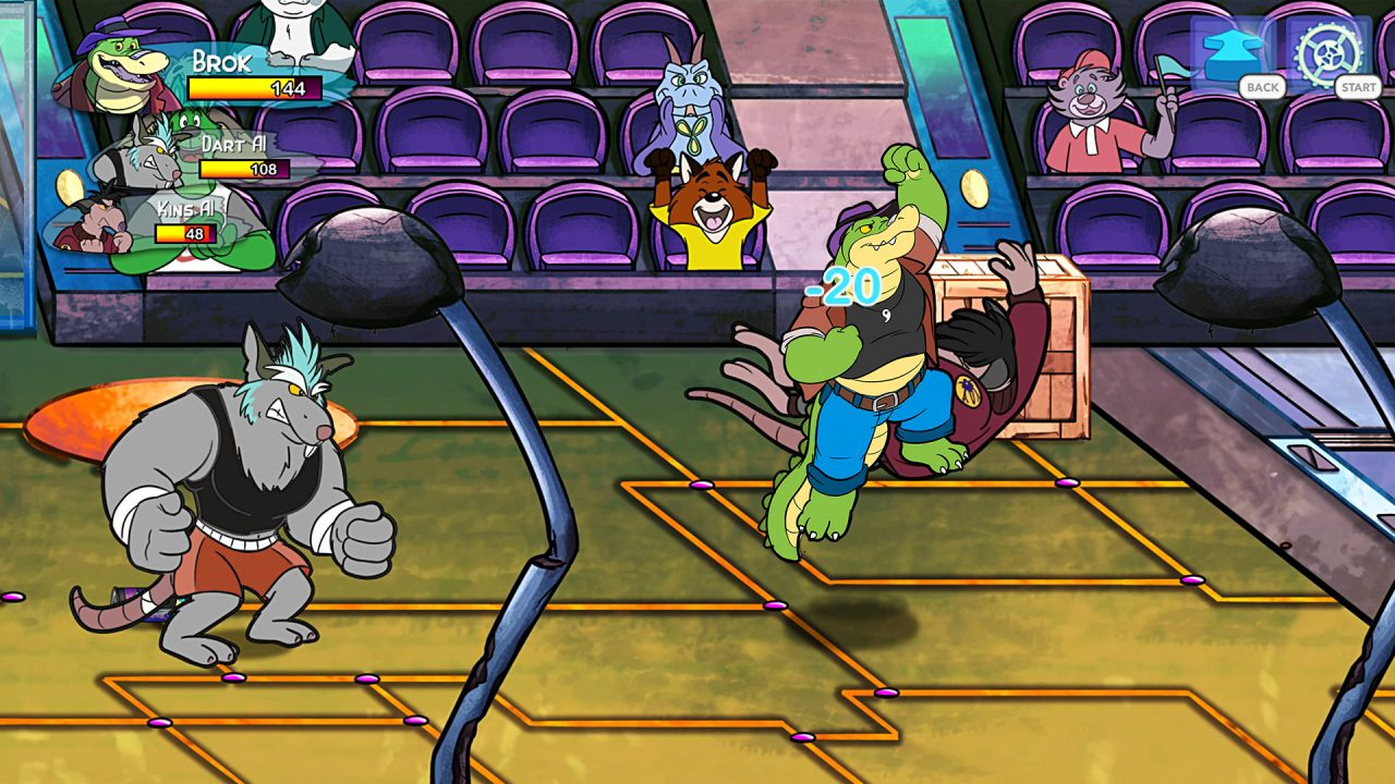 BROK the InvestiGator screenshot of a fight scene in an arena: anthropomorphic alligator vs rats.
