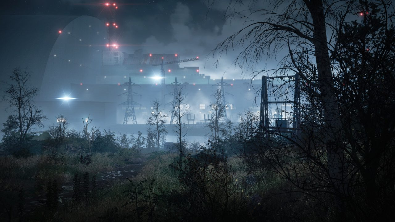 Chernobylite screenshot featuring Chernobyl nuclear facility seen through brush.
