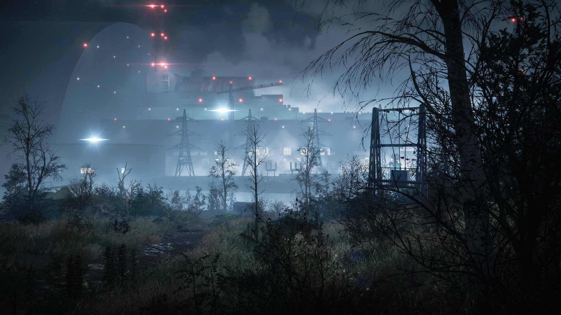 The outside of a power plant at night in Chernobylite.