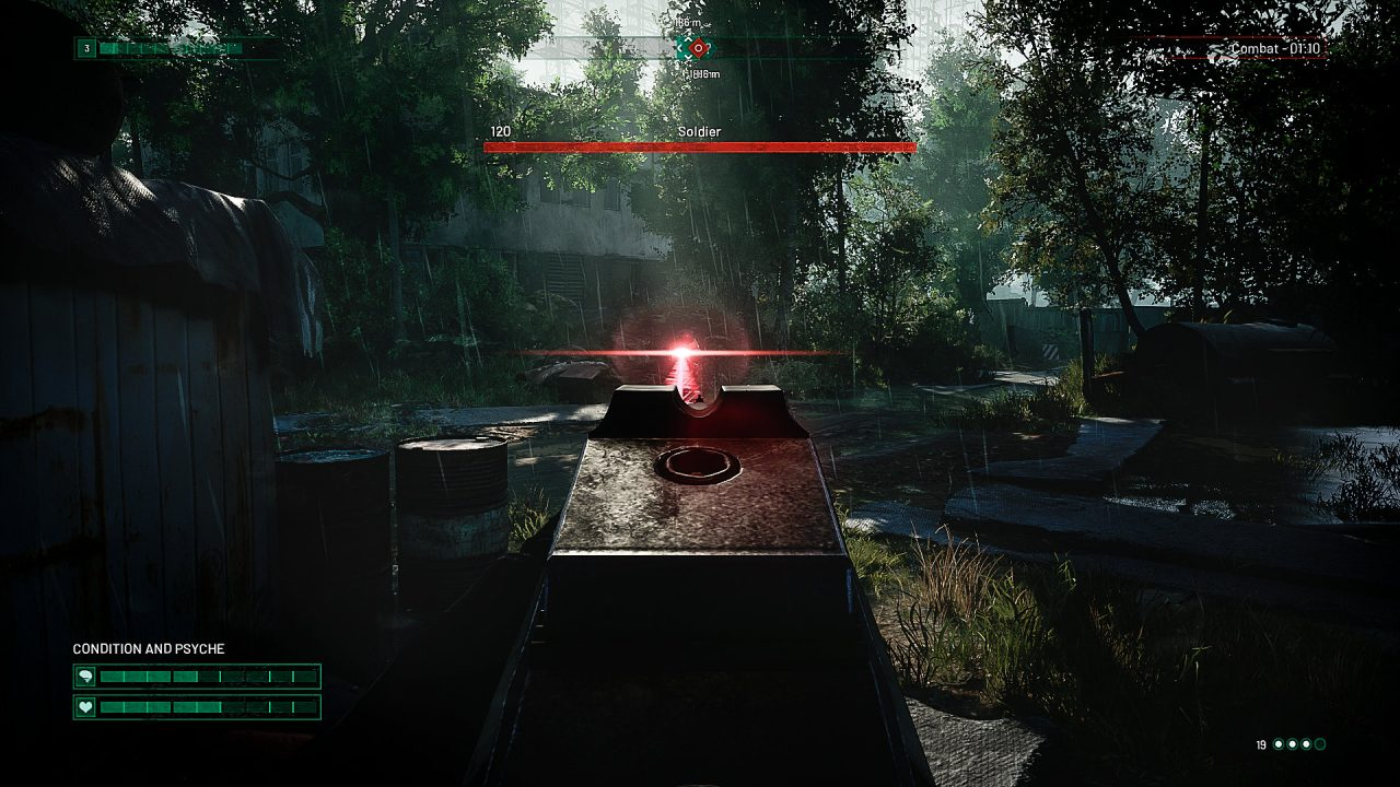 The main character aims a gun at an enemy in Chernobylite.